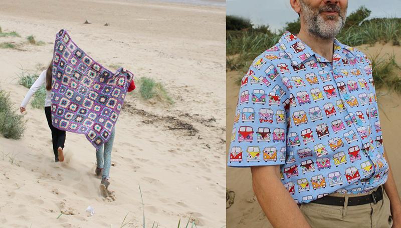 Volkwagen fabric men's shirt,granny square blanket