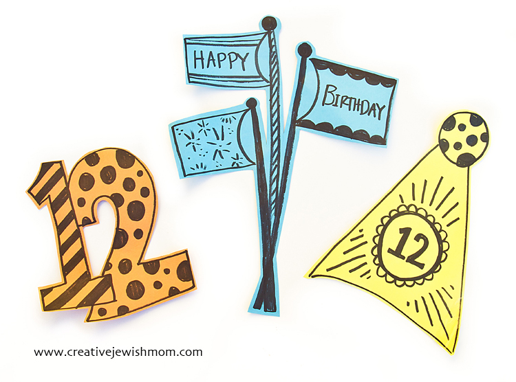 Birthday Decorations Simple Colored Paper Cutouts