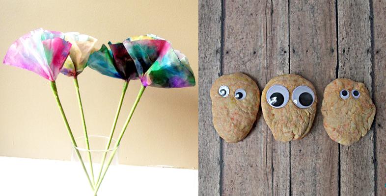 Coffee filter flowers,playdough monsters kid's craft