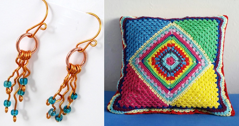Crocheted diamond granny pillow,dessert rain DIY wire earings