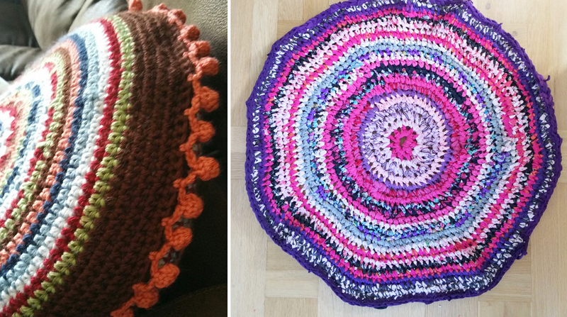 Crocheted rug from t-shirts, bobble edged crocheted pillow