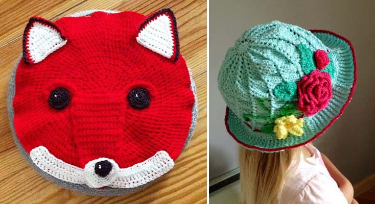 Crocheted fox pillow,girls crocheted sun hat