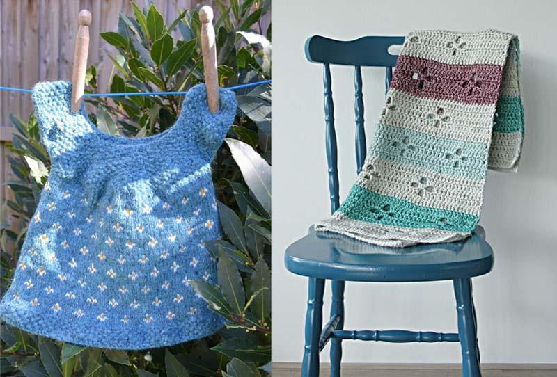Knit fair isle baby dress,crocheted leaf cut out baby blanket