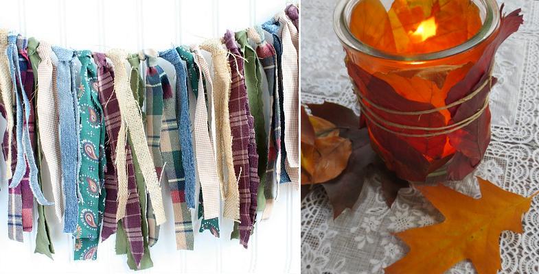 Fall rag banner,fall leaf votives