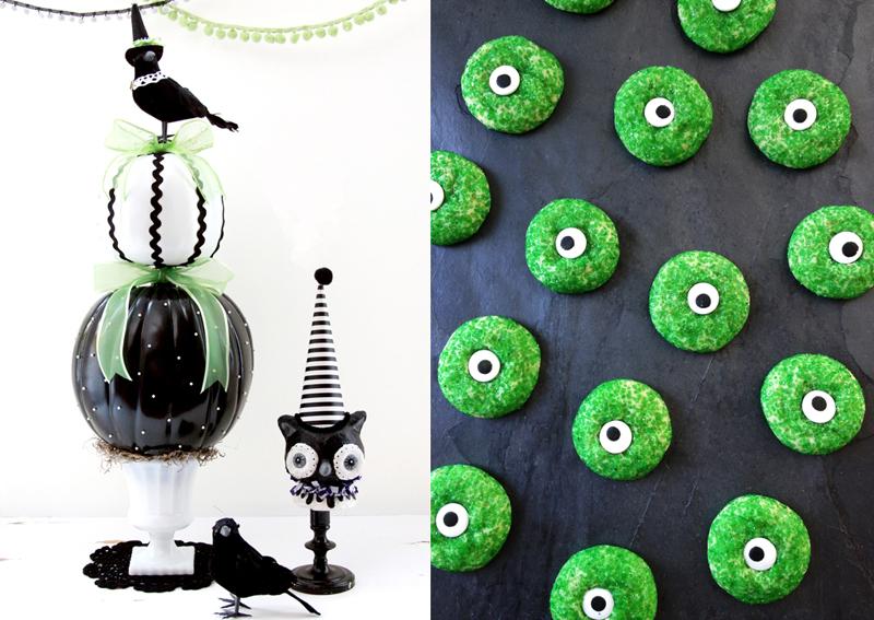 Black and white pumpkin topiary,eyeball cookies