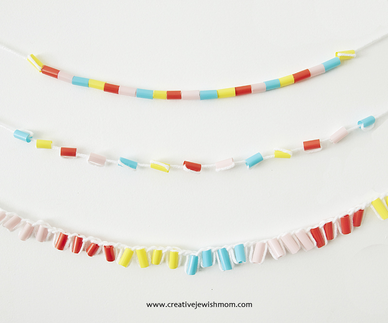 Drinking Straws Garlands Three Ways