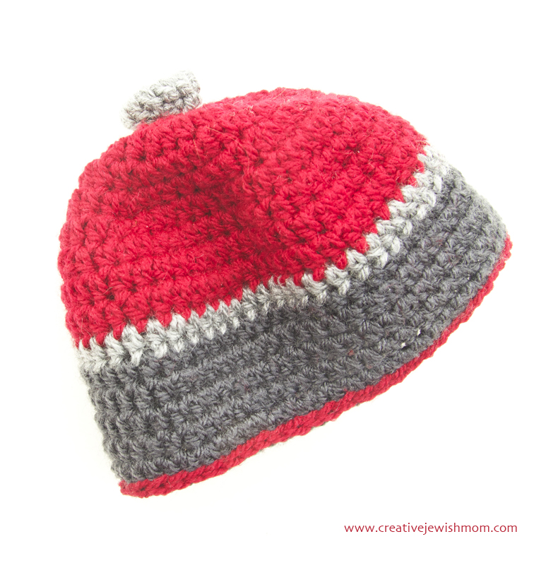 Crocheted Baby Beanie With stripes one Hour