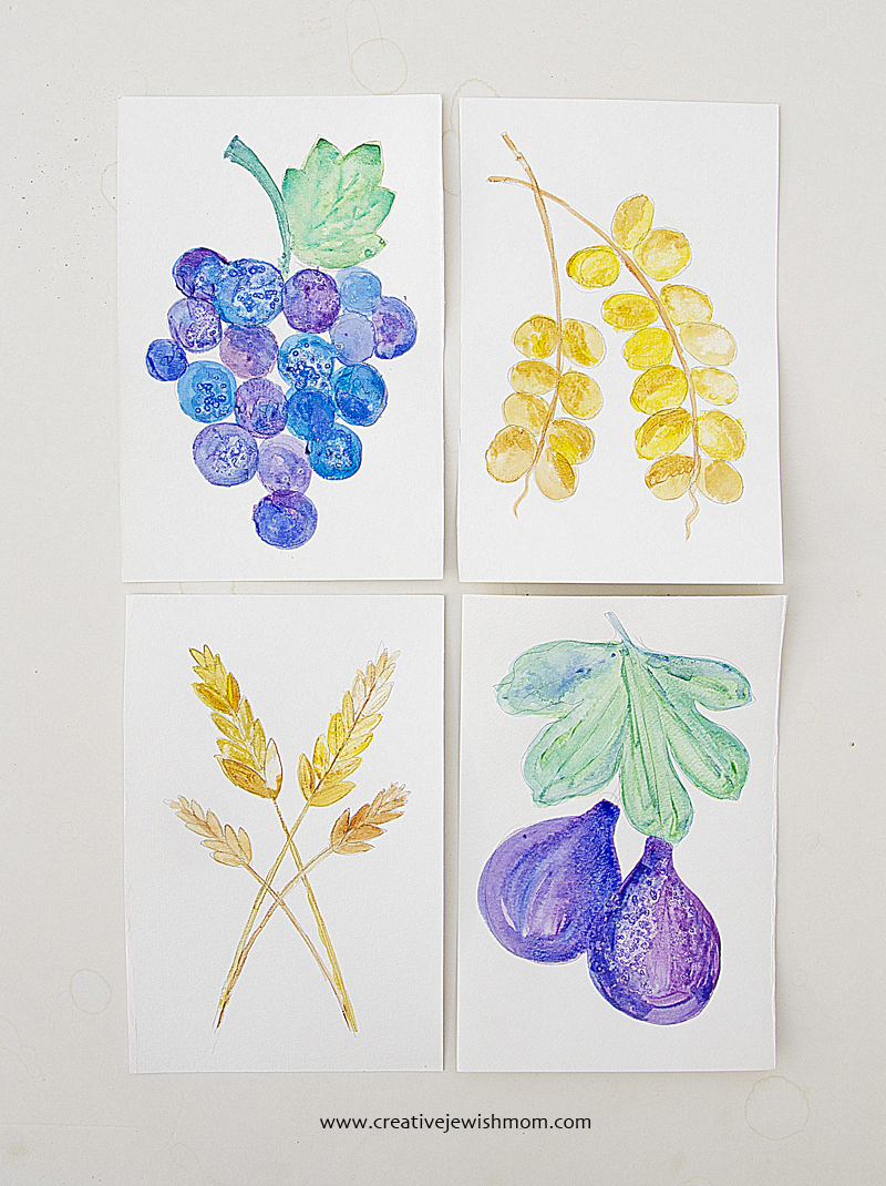 Watercolor harvest paintings  grapes,figs,dates, for fall