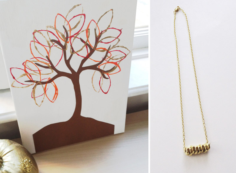 Fall tp roll print tree,bolts necklace