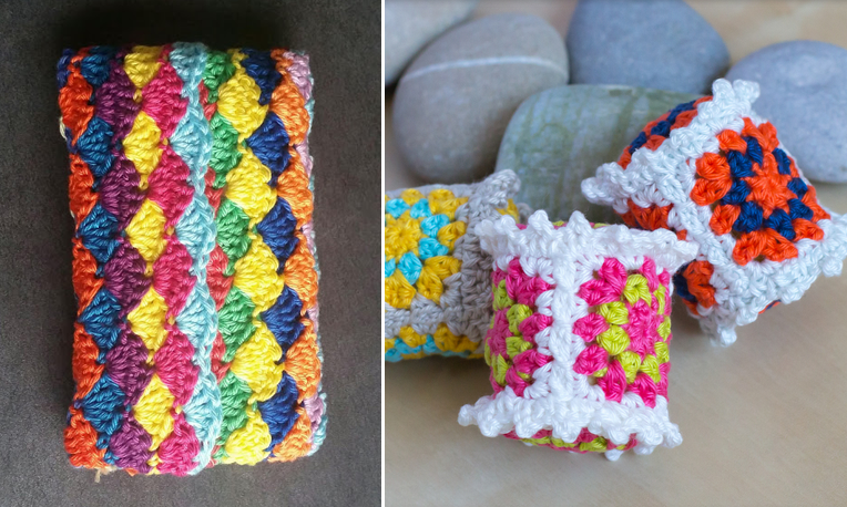 Crochted tissue purse,crocheted granny rattles