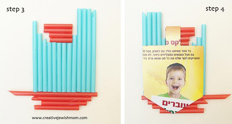 Hanukkah Craft Drinking Straw Dreidels Step 3 and 4