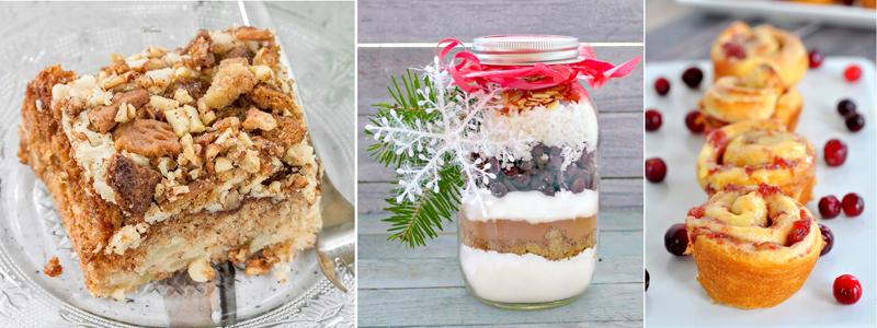 Apple praline cake,almond joy bars,cranberry cinnamon rolls