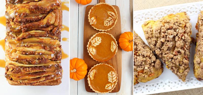 Pumpkin pie tarts with dough leaves,peacon roll,pumpkin pecan scones