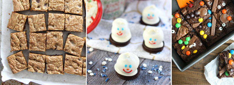 Chocolatechip cookie bars,melting snowman oreo cookies,candy brownies