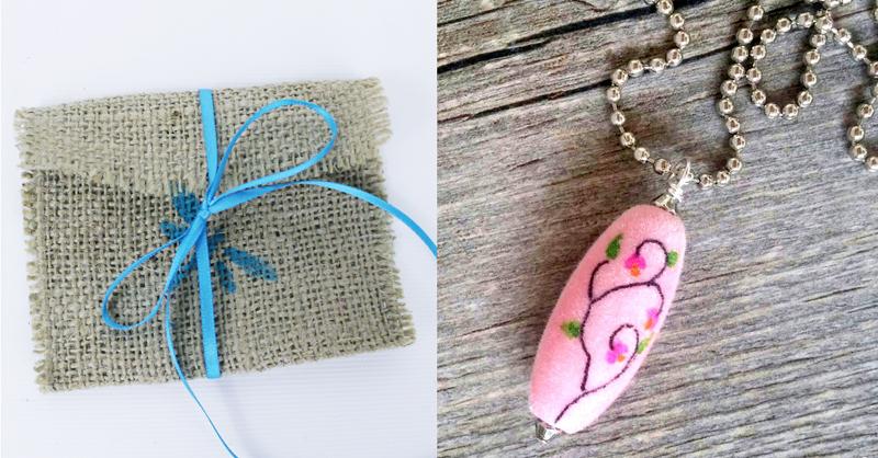 No sew burlap gift pouch,sharpie velvet bead