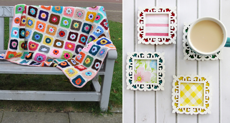 Crocheted flower granny square blanket,square wooden coasters
