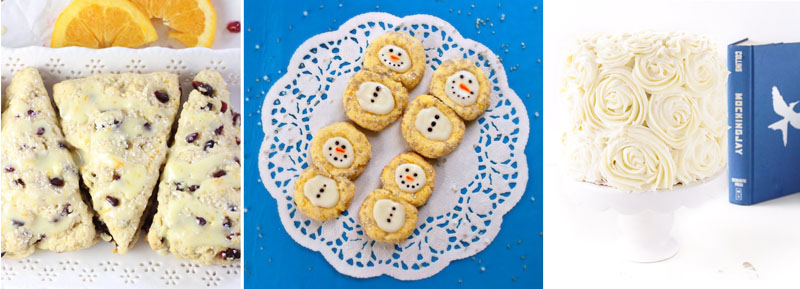 Rose icing cake,pumpkin pomegranite scones,snowman thumbprint cookies