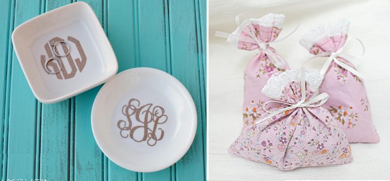 Ring dish with custom monogram,lavender sachets