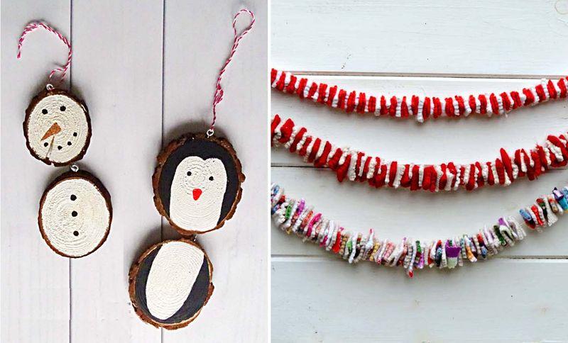 Wood slice snowmen, felt squares garland