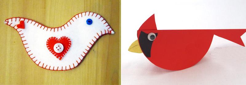 Felt dove,paper cardinal