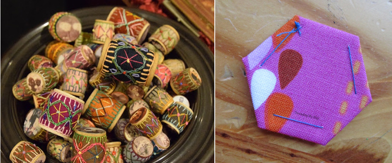 Hexigon piecing, embroidered spools