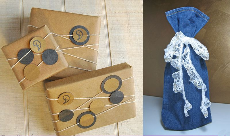 Jean leg wine bottle bag,kraft paper wrapping