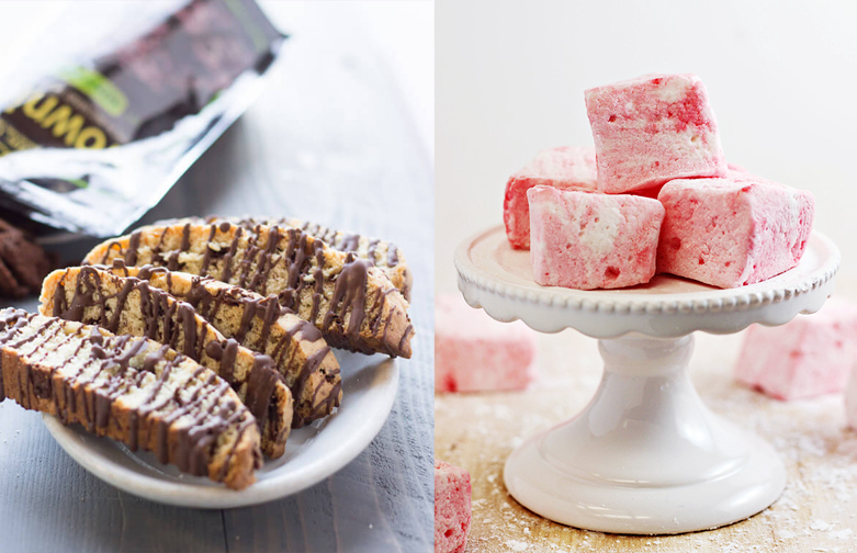 Peppermint marshmellows,biscotti