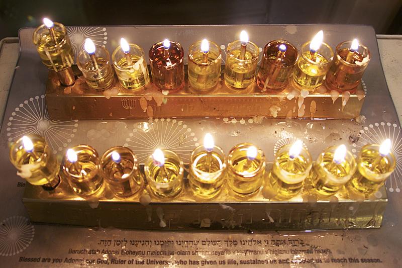 Hanukkah Eighth Night Two Menorahs