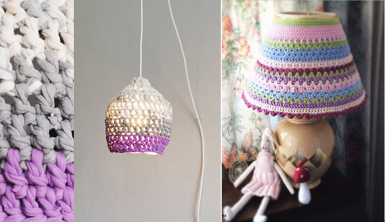 Crocheted lampshade with t-shirt yarn, stripes