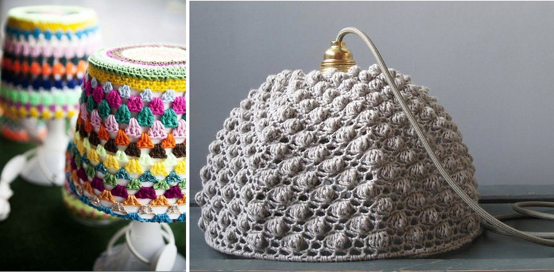 Crocheted Lamp shade IKEA hack,crocheted textured lampshade