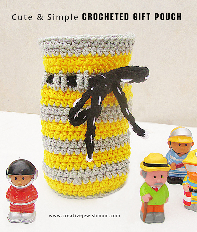 Striped Crochet Gift Pouch For Kids