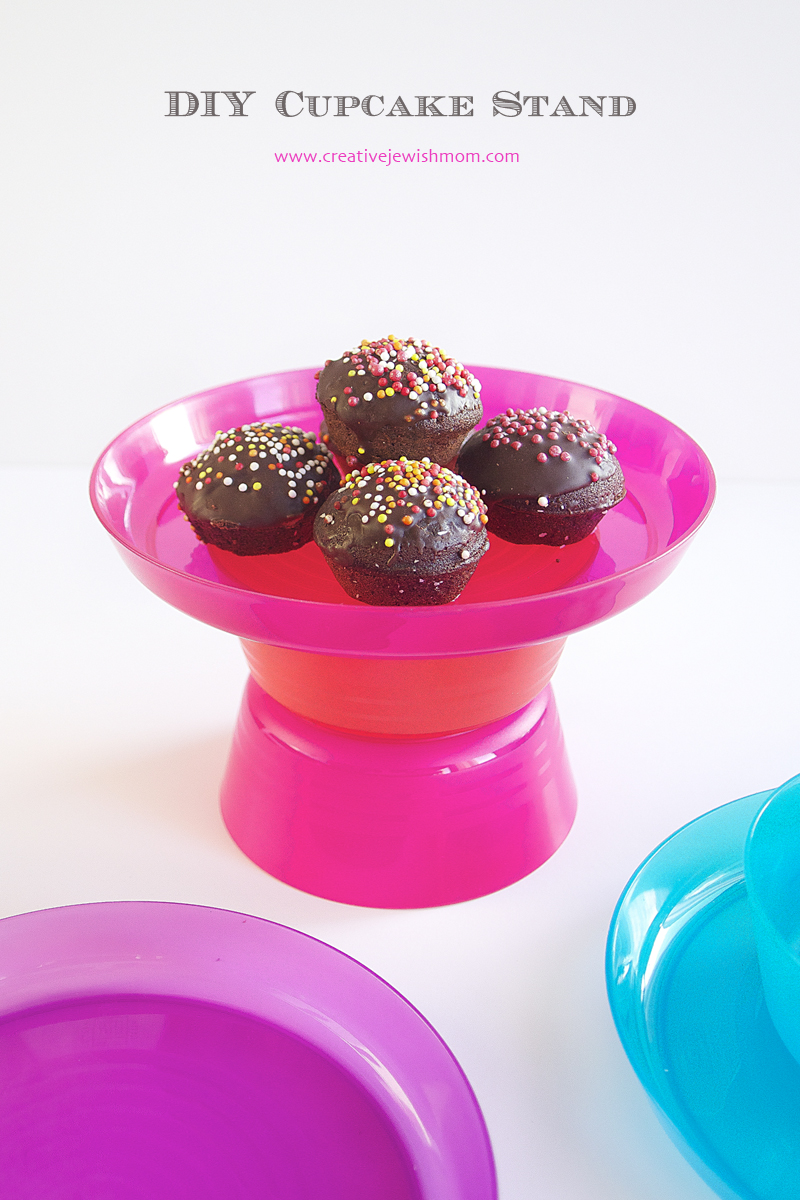 DIY cupcake stand from bowls and plates