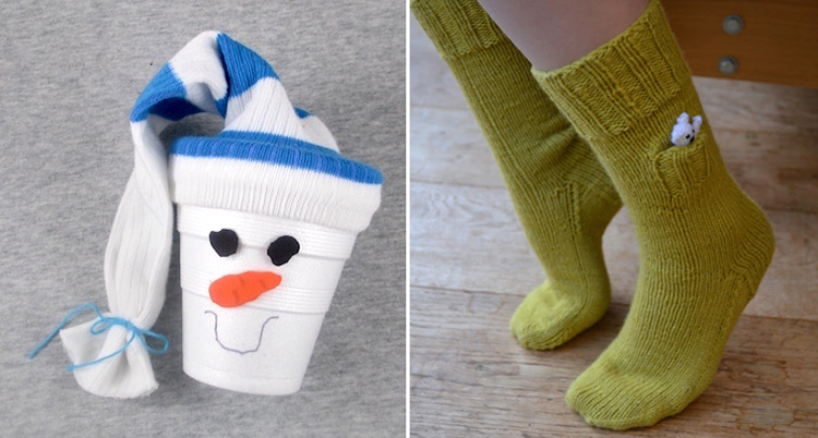 Snowman gift cup with a sock,knit socks with a pocket