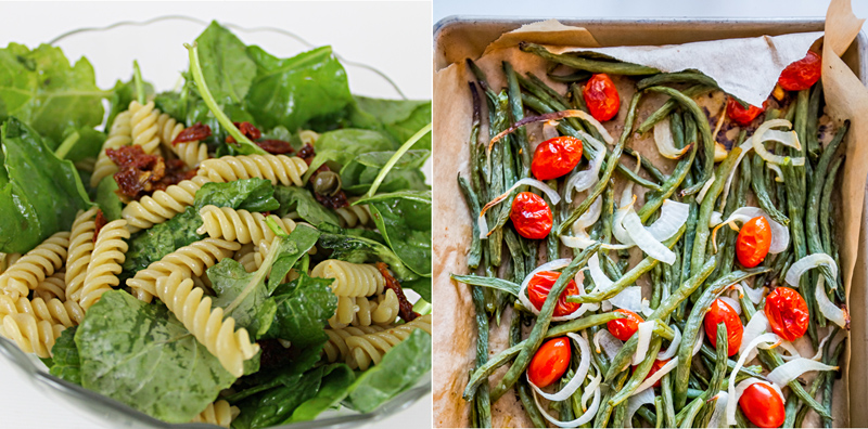 Roasted green beans,arugala pasta salad