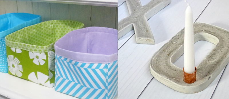 Nesting fabric bins,concrete xo candleholders