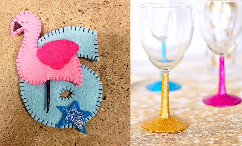 Glitter stem wine glasses,flamingo birthday brooch