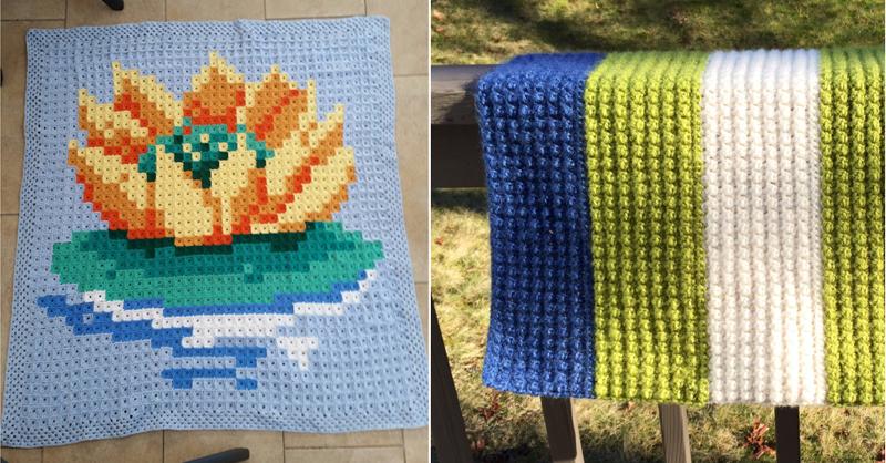 crocheted pixel lotus flower blanket,crocheted striped bobble blanket