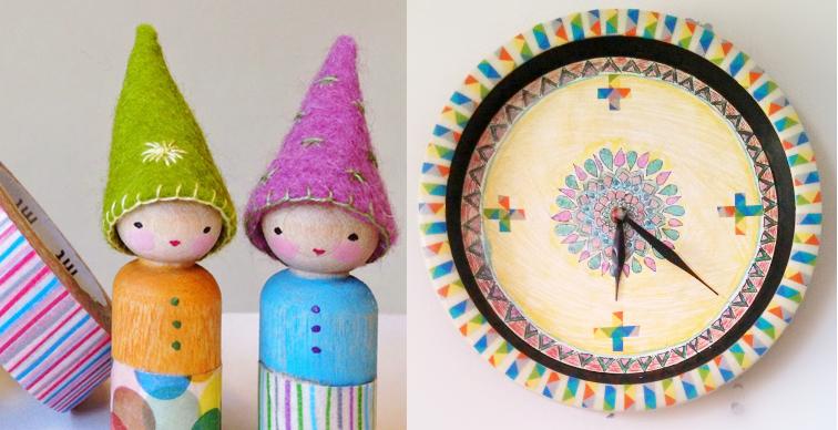 Washi tape peg dolls,washi tape clock
