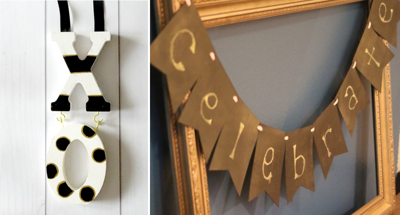 Chalkboard paint banner,xoxo letters painted