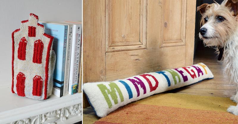 Knit dutch house book end,cross stitch draft stopper