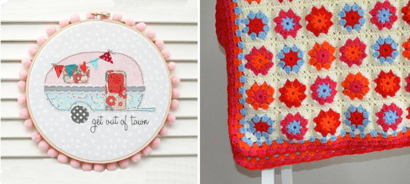 Vintage camper hoop art,crocheted granny square blanket red and blue