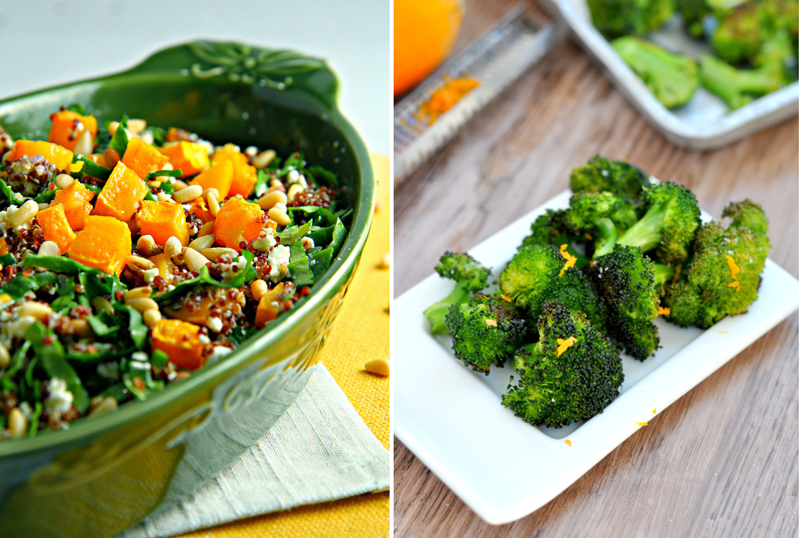 Roasted broccoli,red quinoa and butternut squash salad