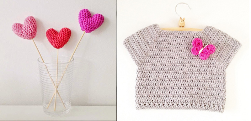 Crochet toddler shirt,crochet small hearts