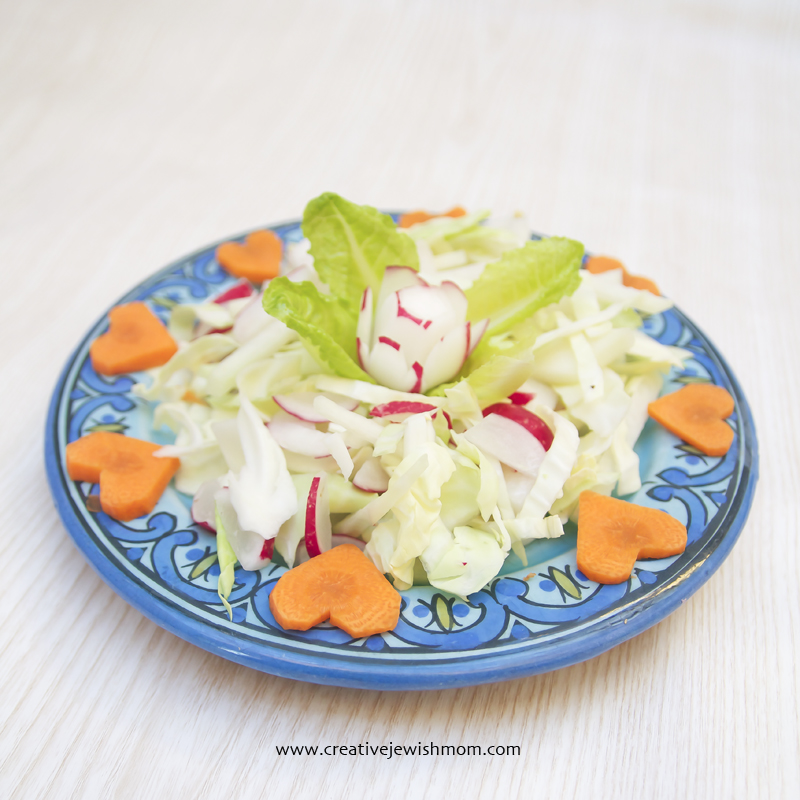 Cruciferous Vegetable Salad With Carrot Hearts