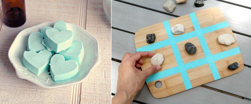 Cutting board tic tac toe, heart shower bombs