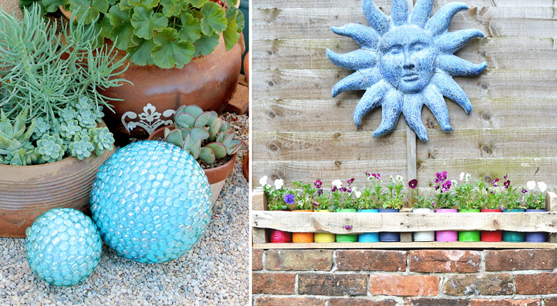 Tin can and palet planter box,mosaic garden balls