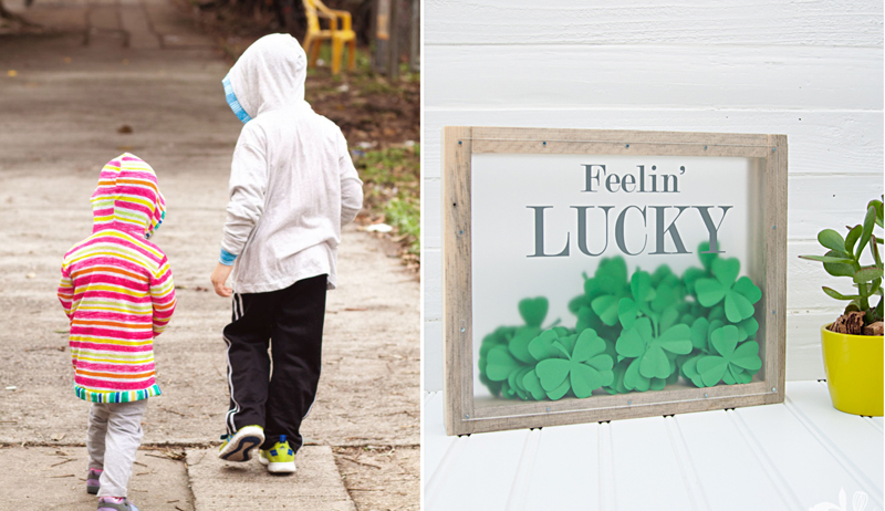 Shadow box with paper clovers,hooded t-shirt cardigan