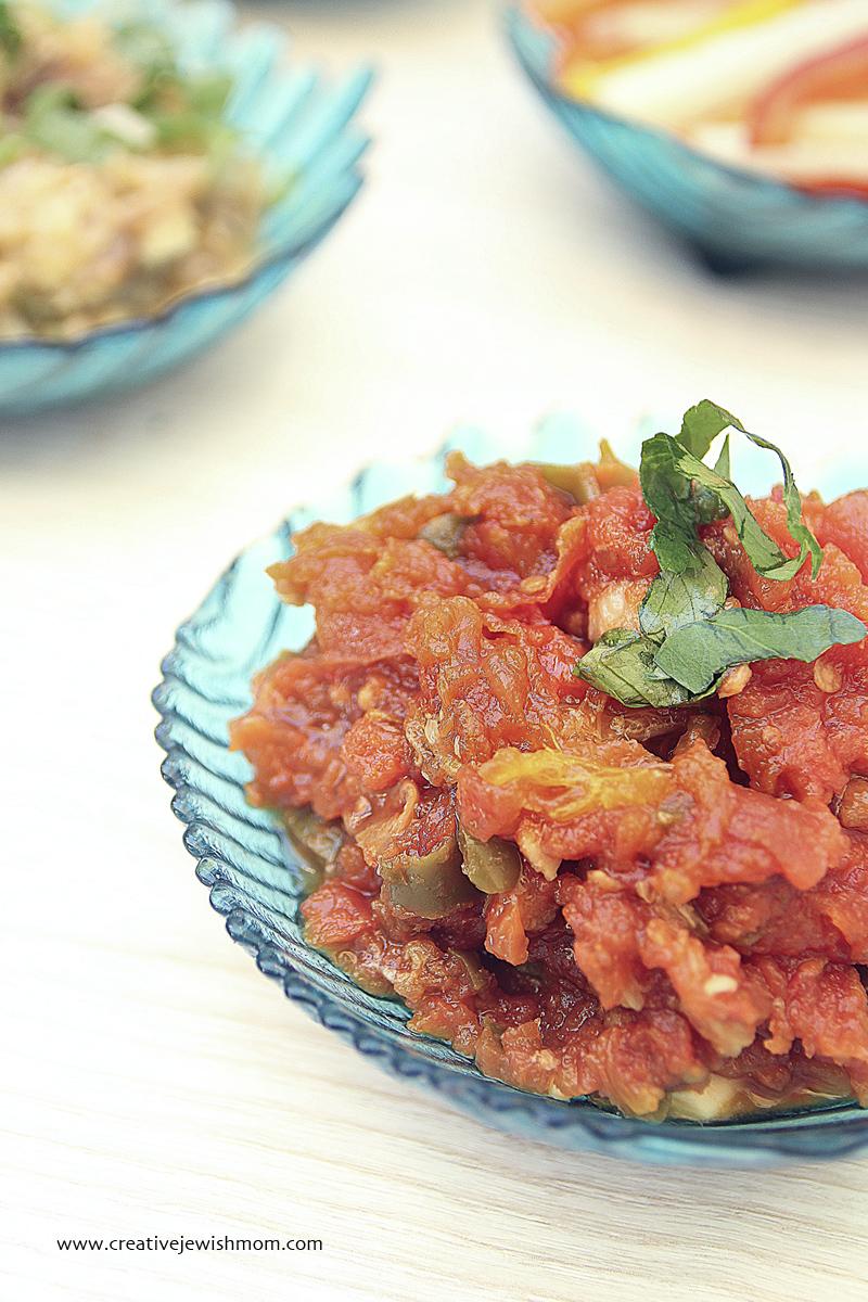 Moroccan Matbucha Cooked Tomato Salad - creative jewish mom