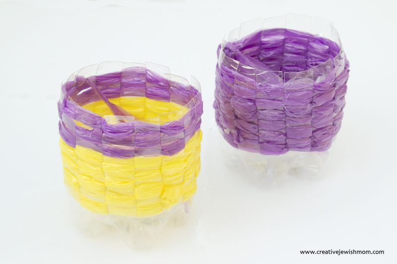 Woven plastic bottle basket how to