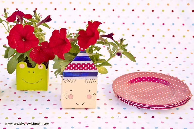 Milk Carton Flower Pots Birthday Centerpiece